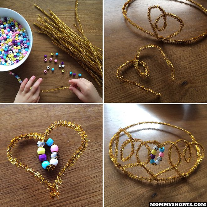 How to make a crown from pipe cleaners and pony beads