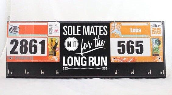 Love the idra of a 'his' 'hers' & 'our' Gift for Runners Couple Race Bib and by StrutYourStuffSignCo