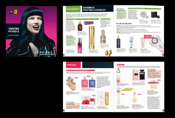 Revista de 44 páginas para Sephora España. Recoge todas las novedades e incluye marcas y productos destacados.