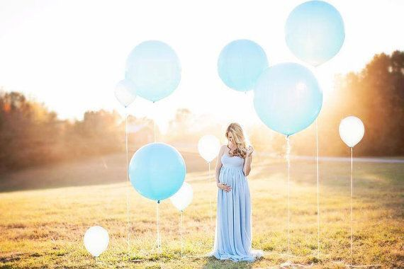 Maternity location photoshoot baby boy blue with balloons