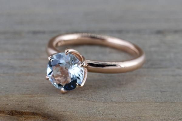14k Rose Gold Round Aquamarine Tulip Crown Solitaire 6 Prong Ring 7mm Engagement Ring