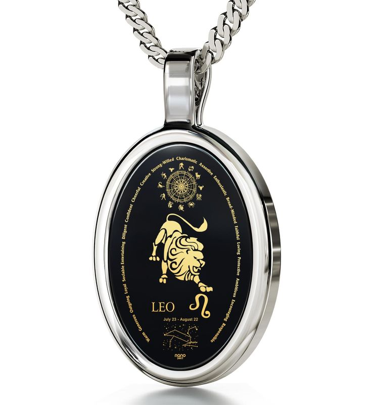 """The World of Leo, 14k White Gold Necklace, Onyx. Celebrate Leo's strong-willed, charismatic nature with this 14k white gold necklace! Depiction of a Leo, its traits, constellation, Greek name, symbol, birth dates and the whole Zodiac in 24k pure gold Natural Onyx Stone 14k White Gold oval frame (29.5mm x 17mm) Italian 14k White Gold Figaro chain, 18"""" (45cm)Italian 14k White Gold Figaro chain, 18"""" (45cm) Special gift for her or him accompanied by a custom-made magnifying glass inside an..."""