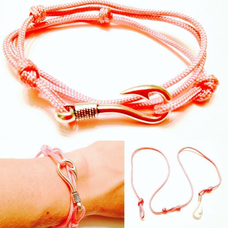 Fish Hook Bracelet - Womens Paracord 95 Adjustable Fish Hook Bracelet - Womens Nautical Bracelet - Pink Fish Hook Bracelet - Paracord 95 by OurUniverseShop on Etsy