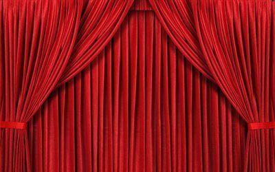 壁紙をダウンロードする ヴェール, シーン, 赤いカーテン, カーテン