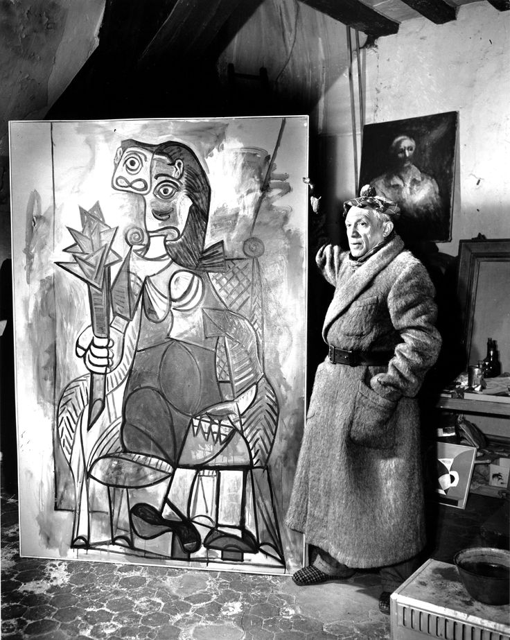 "Picasso In Paris Studio, 1944. ""Lady With Artichoke""."
