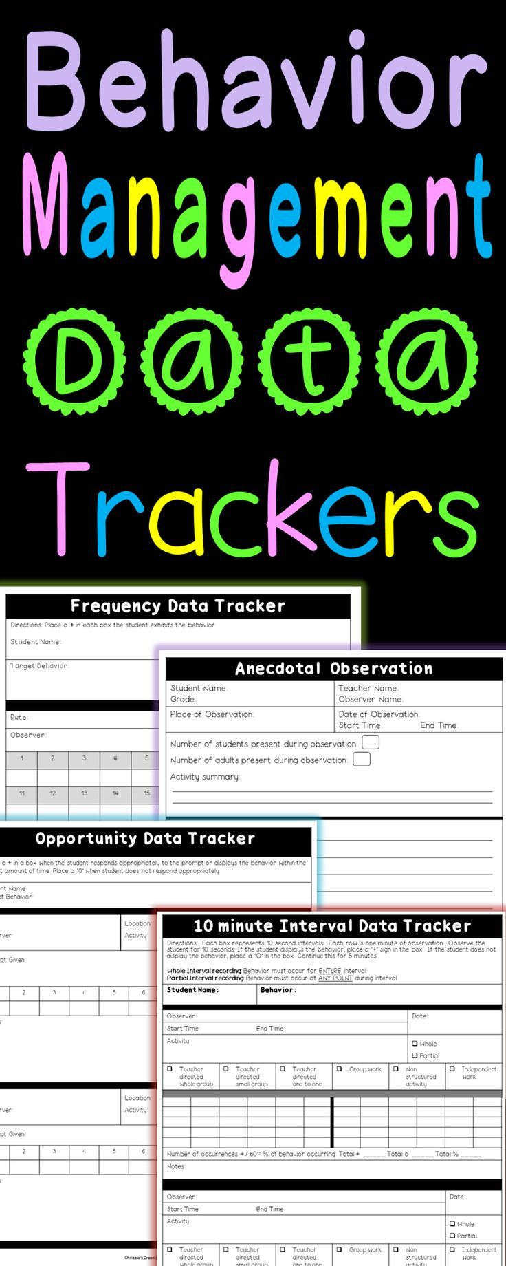 Behavior Management Data Trackers.  15 pages of Forms Included.  Great for Special Education, Regular Education, Intervention, and more.  Sold on TpT by Chrissie's Creations.