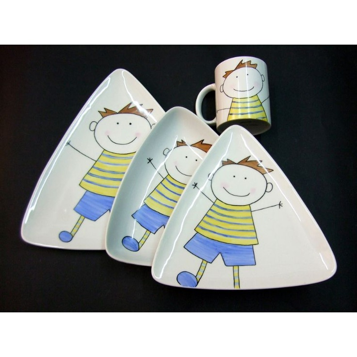 Vajilla Grisalla de porcelana decorada a mano para niño.
