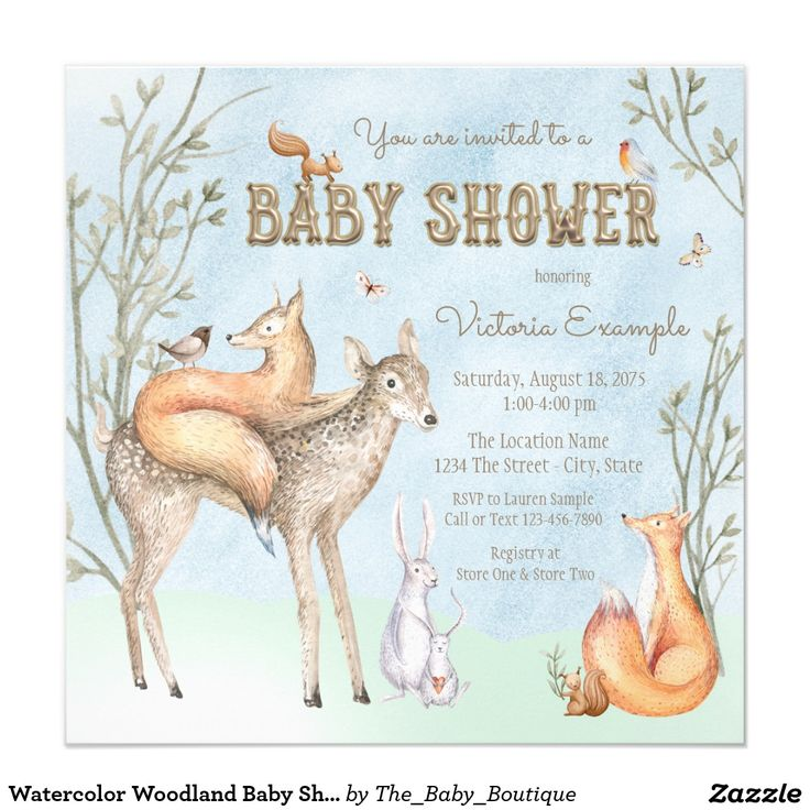 111 best Woodland Baby Shower Invitations Ideas images on Pinterest