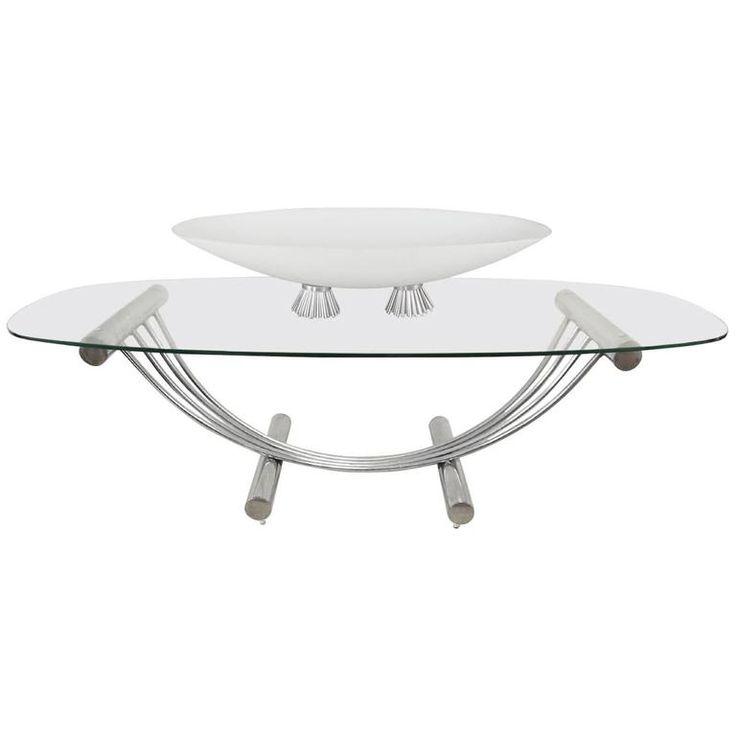 midcentury modern tubular chrome oval glass coffee table with center piece