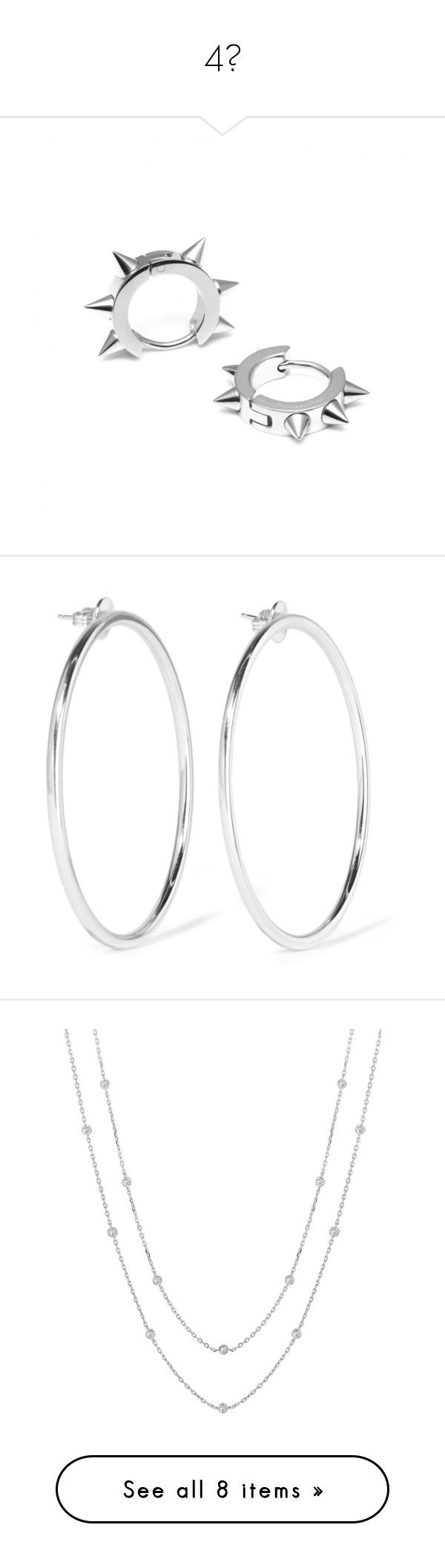 """""""4💍"""" by baaby-dooll ❤ liked on Polyvore featuring jewelry, earrings, nickel free jewelry, nickel free earrings, hoop earrings, spikes jewelry, nickel free hoop earrings, joias, silver and silver plated earrings"""