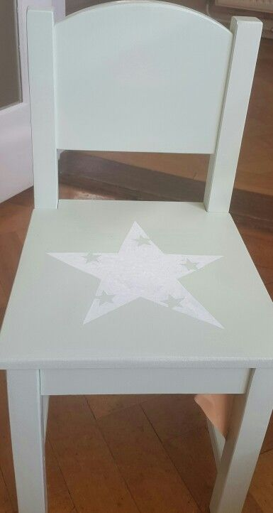 White Star Hand Painted On A Pale Green Toddler Chair Using A White Paint  Pen.