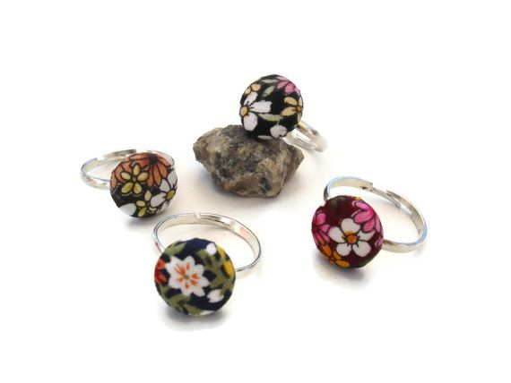 Floral Button Adujstable Rings Small button Ring with by ScrapCati