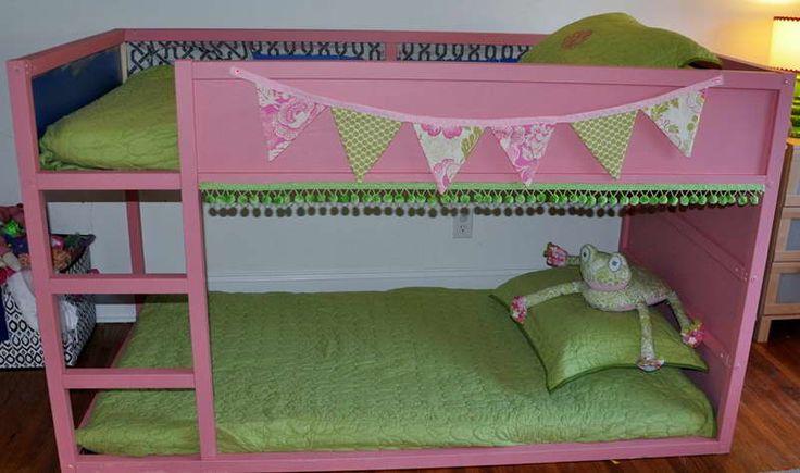 Cute Ikea Kura Bed With Hardwood Floors