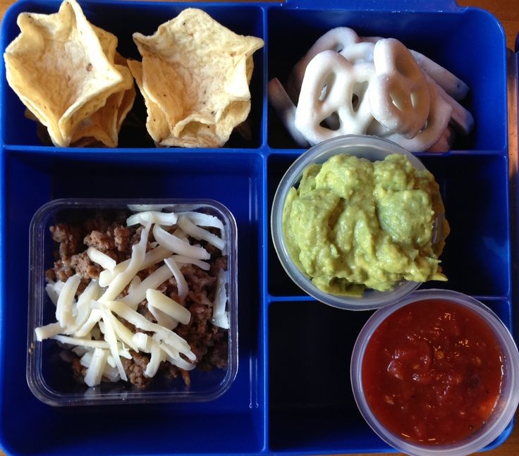 Best Lunch Box Recipes  - Mini build your own tacos. The fake husband would need a larger version but I love this idea a lot.