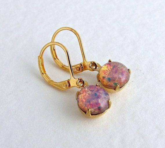 Fire Opal Earrings .. dangle earrings opal drop by beadishdelight