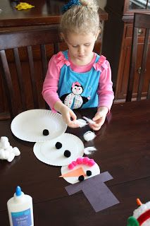 Snow man out of paper plates and anything creative you want to add.