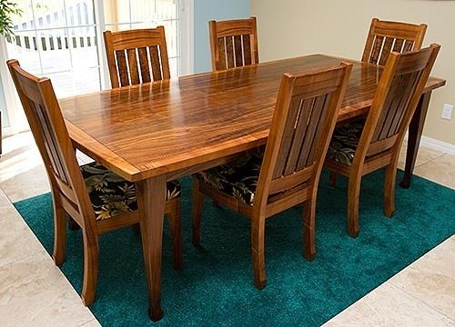Hawaiian curly koa dining table and chair products i