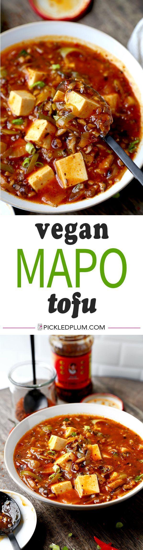 The Ultimate Vegan Mapo Tofu - Mushrooms make this vegan mapo tofu recipe tastier and healthier than the ground meat version. It's amazing! Chinese food recipes   mapo tofu recipe   meatless dinner recipe   pickledplum.com