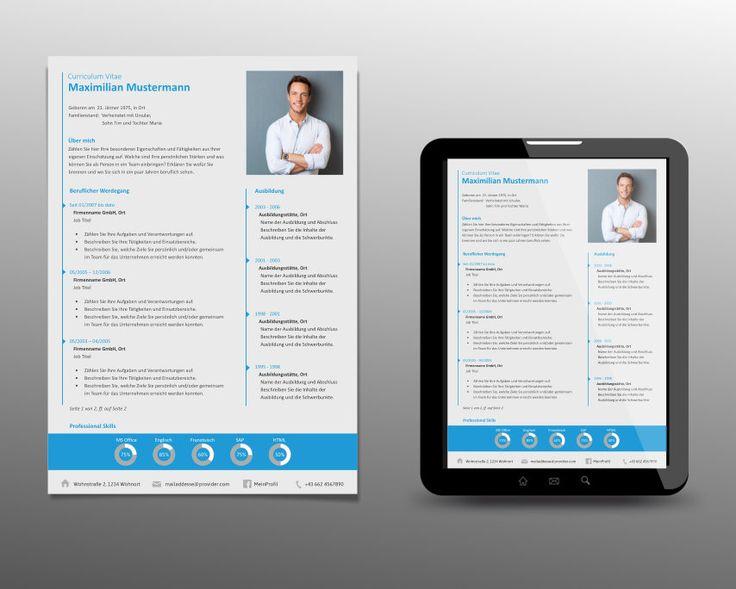 lebenslauf design vorlage ansicht a4 und pdf file ansicht auf ipad tablet