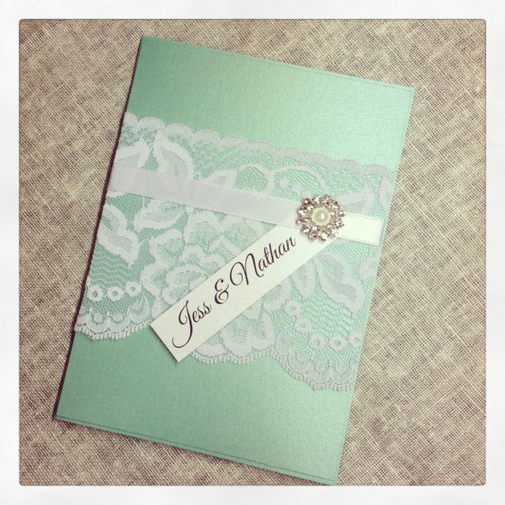 SAMPLE Mint Green Vintage Lace Wedding Invitation
