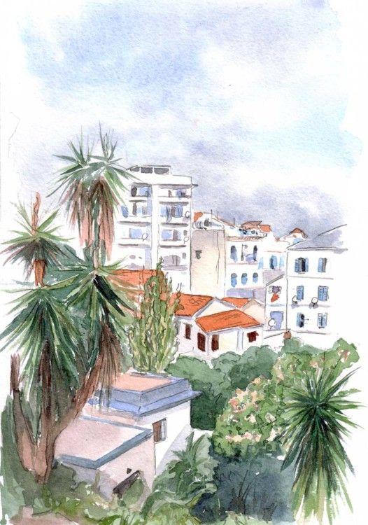 Alger - Jardin de Prague ex-Marengo, les villas - Peinture, 30x20 cm ©2011 par Catherine Rossi -