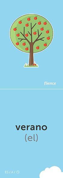 Verano #CardFly #flience #time #spanish #education #flashcard #language