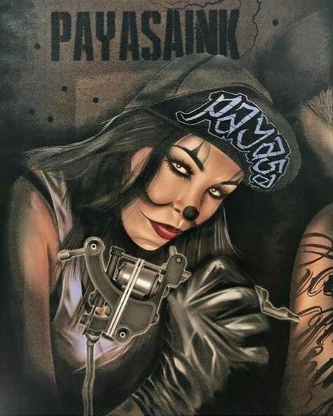 6b06789cbb78b PayasaInk Clothing Evil Clown Tattoos, Azteca Tattoo, Gangsta Girl, Evil  Clowns, Lowrider