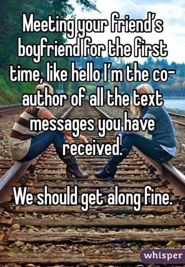 Meeting Your Friend S Boyfriend For The First Time Like Hello I M The Co Author Of All The Text Messages You Funny Quotes Funny Memes Comebacks Funny Texts
