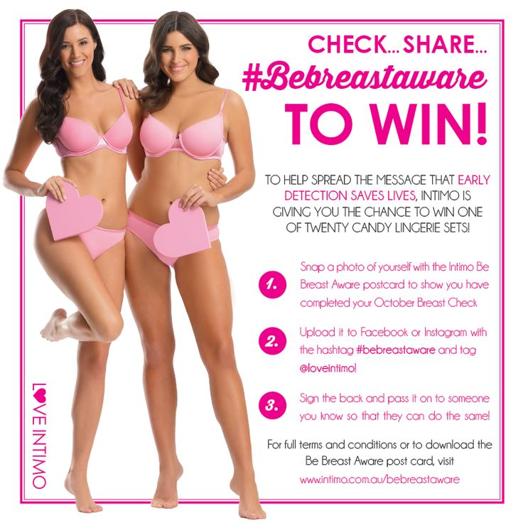 October is International Breast Awareness Month, and to help spread the message that early detection saves lives, Intimo is encouraging women all over Australia and NZ to Check, Share and #Bebreastaware! To find out how you could win one of TWENTY Candy Lingerie Sets, follow this link: www.intimo.com.au/bebreastaware