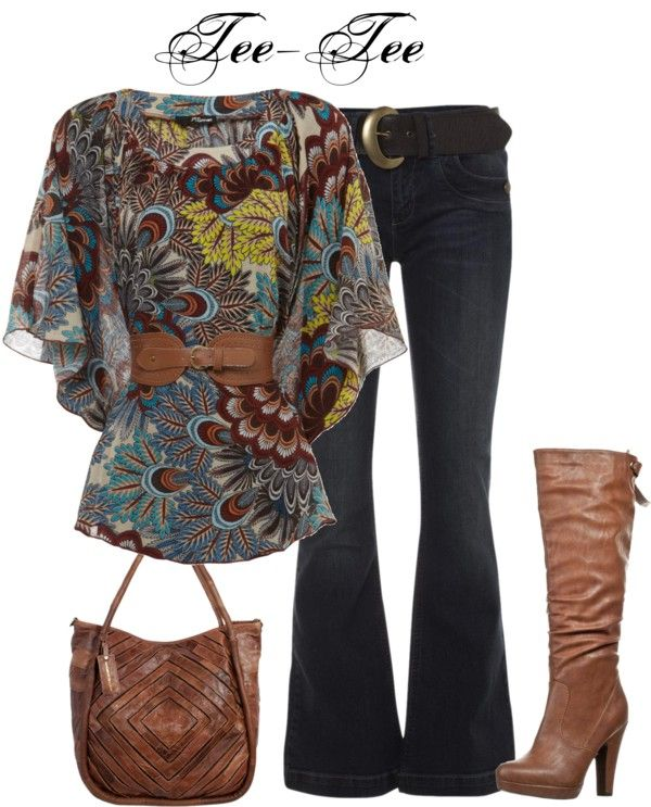 """""""outfit # 157"""" by teeteeshop on Polyvore #fashion I think I would wear skinny jeans so I could tuck them into the boots better.. But I love this look :)"""