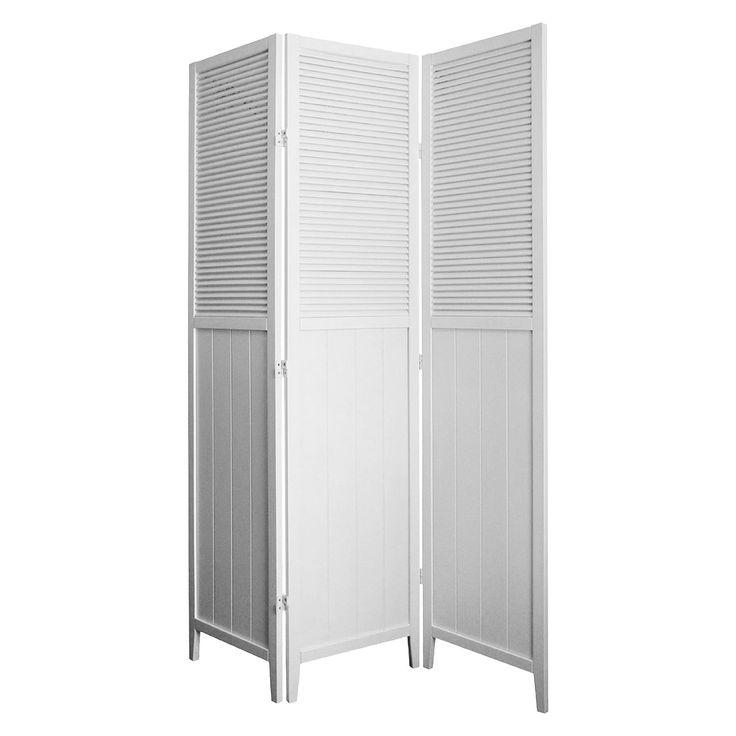 Shutter Door 3 Panel Room Divider White - Ore International