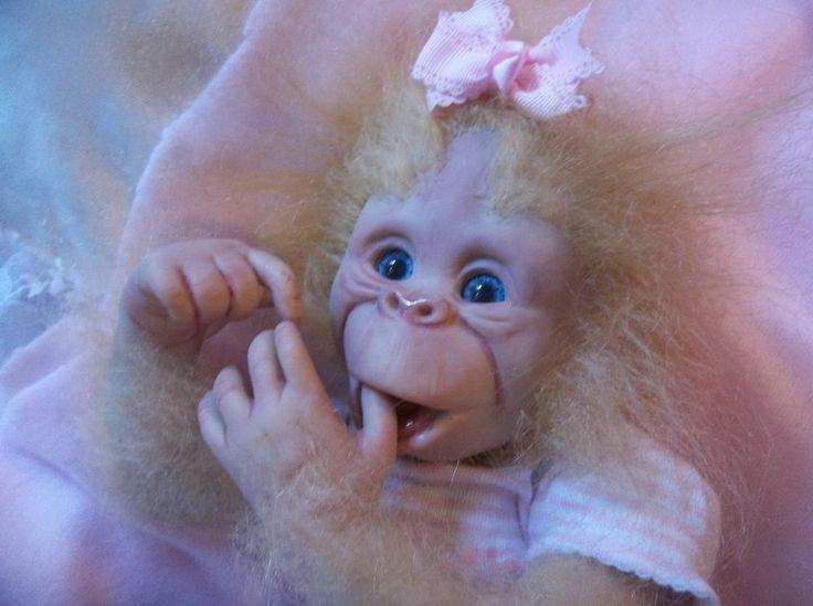 REBORN BLONDE ORANGUTAN APE MONKEY BABY ART DOLL OOAK ...