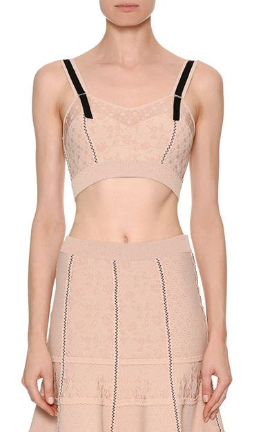 Bustier Patchwork Jacquard Top by Alexander McQueen. Alexander McQueen bustier top in patchwork jacquard. Sweetheart neckline. Thin straps. Formfitting. Back zip. Viscose/nylon/polyester/spandex. Combo, silk. Made in Italy. #alexandermcqueen