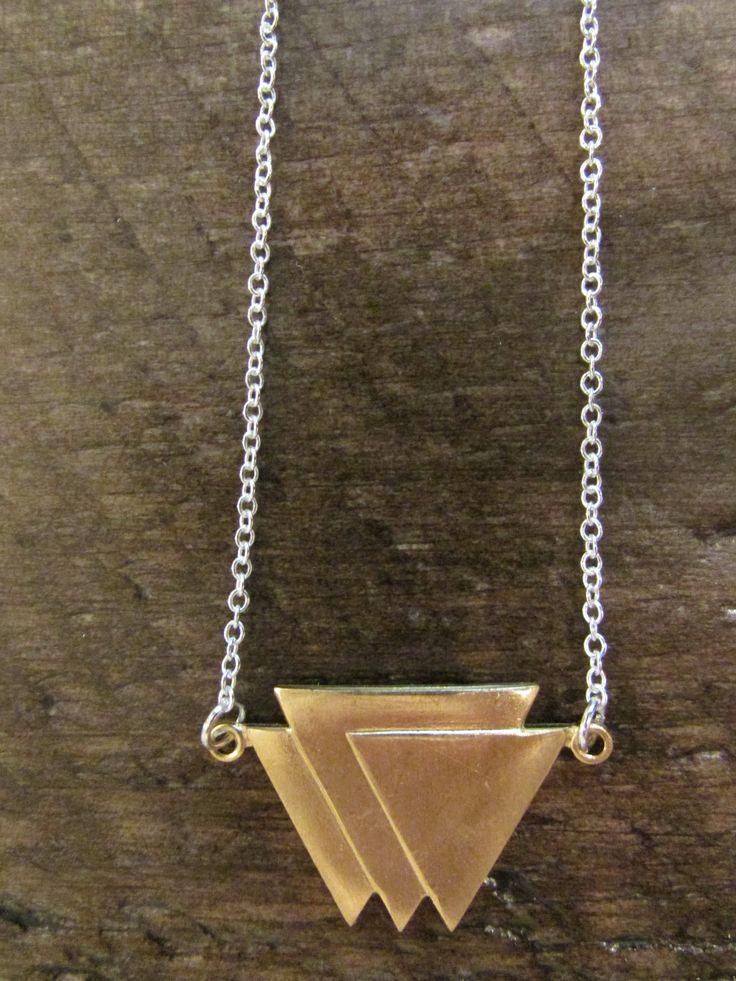 Geometric Triple Triangle Pendant Neckla