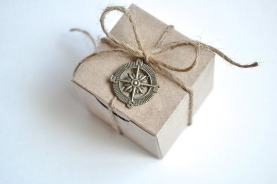 Wedding favor box, nautical wedding favor boxes, small brown kraft box, compass charm, 2 by 2 by 2. Set of 50    These cute little kraft