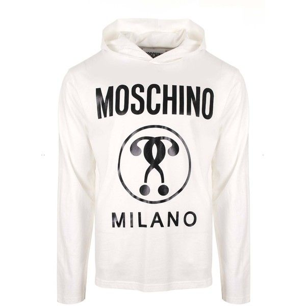 Moschino Moschino Milano Long Sleeve T-Shirt with Hood (905 BRL) ❤ liked on Polyvore featuring men's fashion, men's clothing, men's shirts, men's t-shirts, mens long sleeve t shirts, mens shirts, mens longsleeve shirts, mens patterned shirts and mens base layer shirts