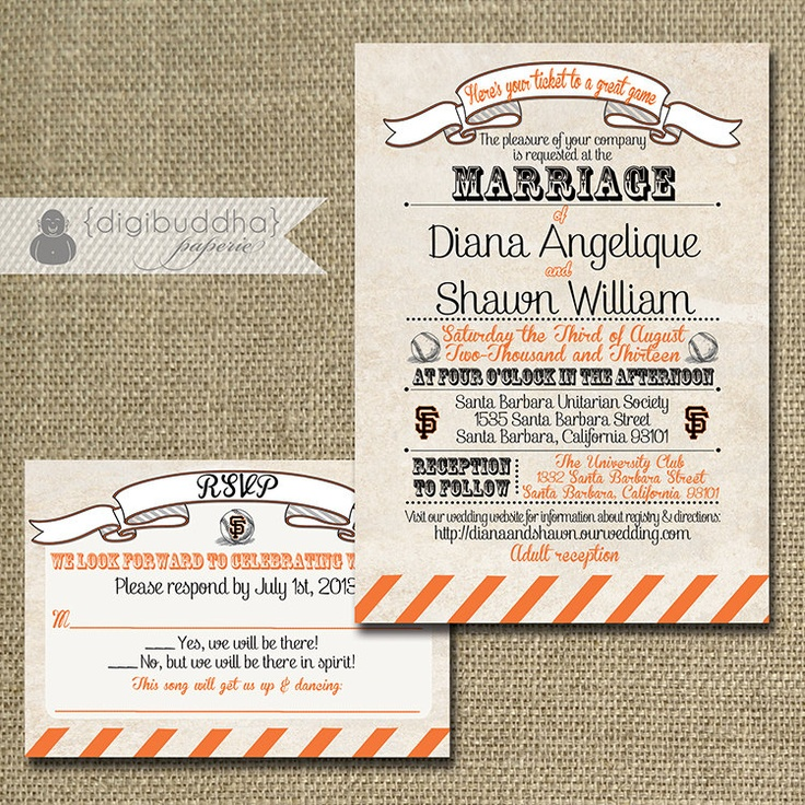 giants baseball wedding invitation response by digibuddhapaperie 5000 wedding inspiration pinterest weddings - Baseball Wedding Invitations