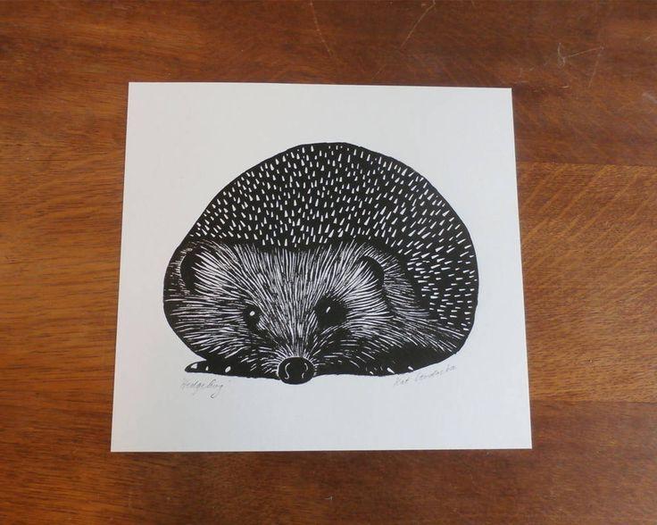 Hedgehog, Original Linocut Print, Open Edition, Singned, Free Postage in UK, Hand Pulled, Printmaking, by KatLendacka on Etsy