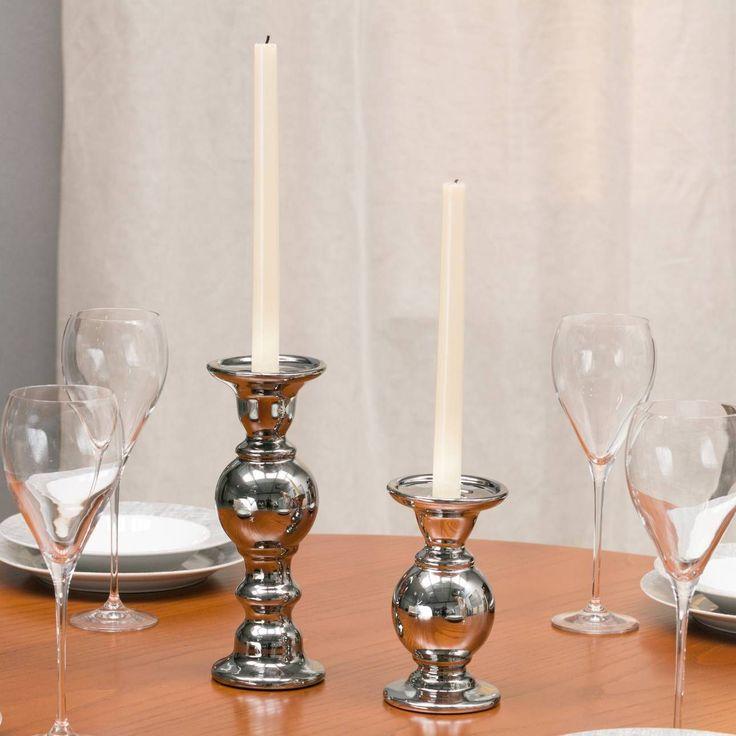 Świecznik Glamour Silver wys. 17cm, 9,5x9,5x17cm - Dekoria #Candlesticks #swieczki #swieczniki #home #dom #decoration #inspiration #livingroom #dekoracje #interior