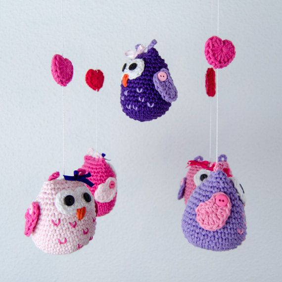 Pink Owls Crochet Mobile Baby Mobile by OneandTwoOriginals