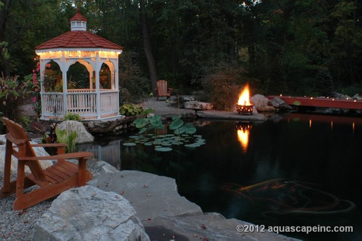 Large pond with gazebo.