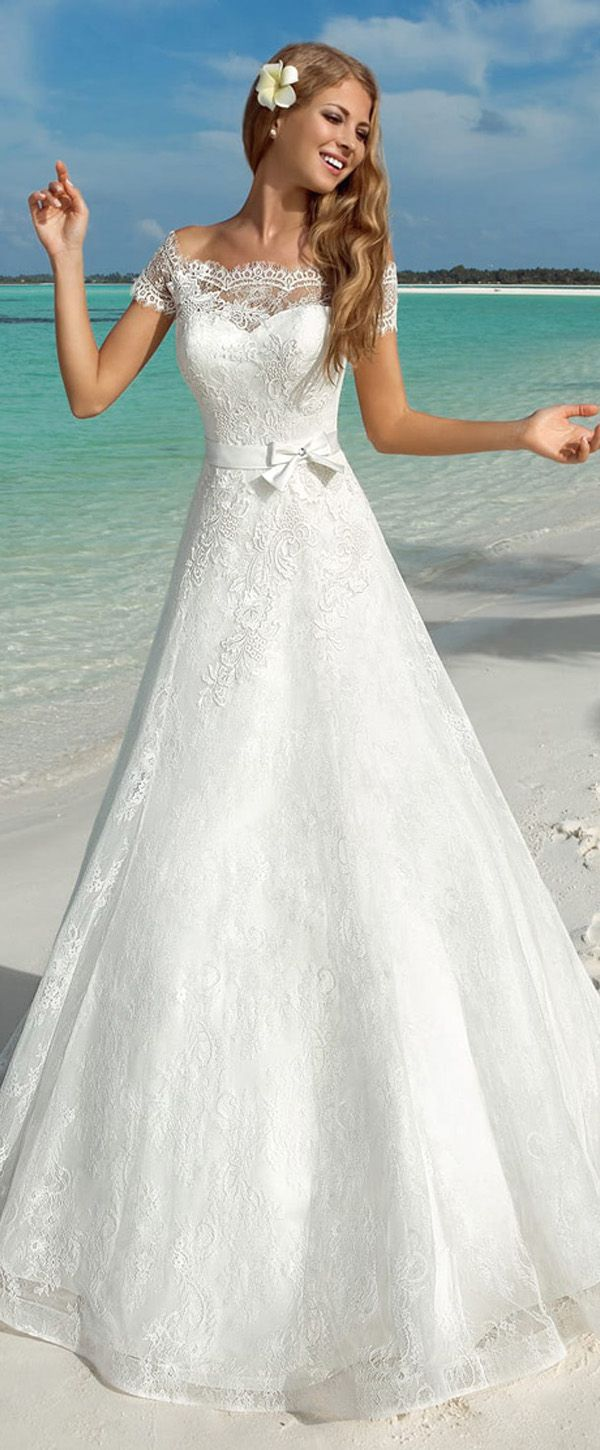 Alluring Lace Off-the-shoulder Neckline A-line Wedding Dresses With Lace Appliques