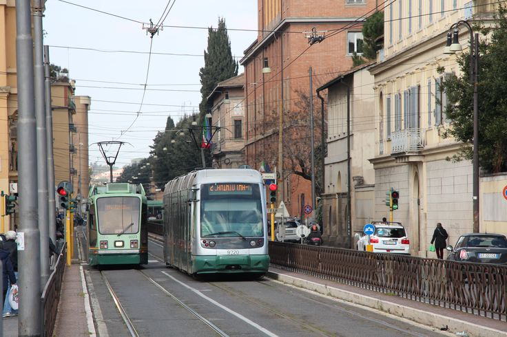Two trams cross paths north of Piazza Del Popolo in Rome. #trams #lightrail
