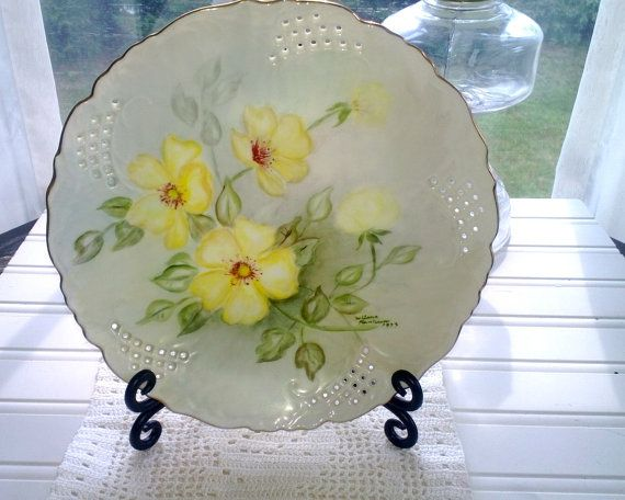 Vintage Hand Painted Plate Yellow Flowerssigned By MyFrenchCottage, $18.00