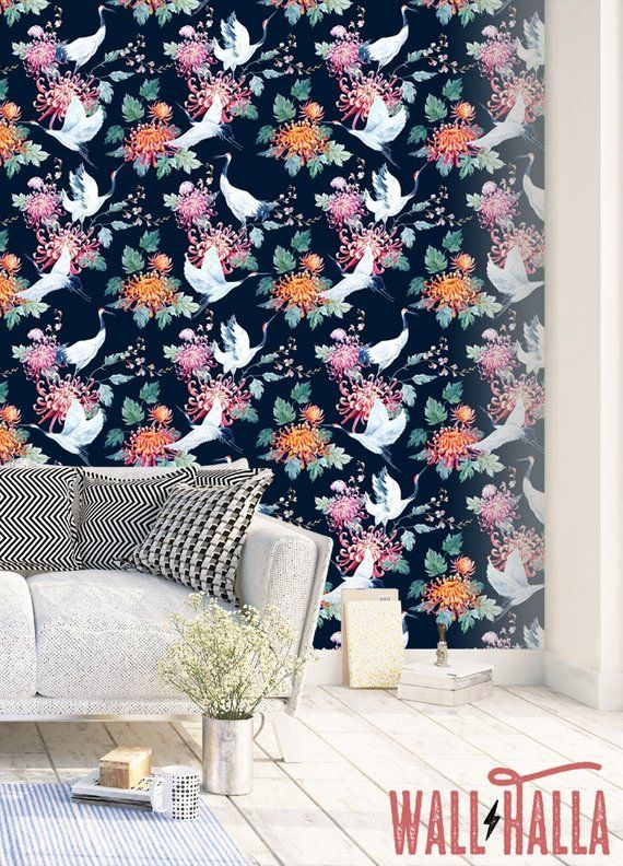 Seamless Removable Crane Wallpaper Self Adhesive Vintage Wall Etsy How To Hang Wallpaper Pattern Wallpaper Wall Wallpaper