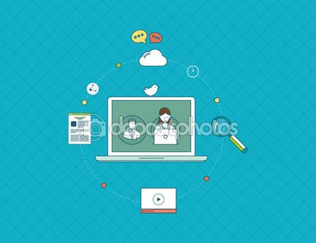 Он-лайн общения, образования и социальных средств массовой информации — Векторная картинка #68471681
