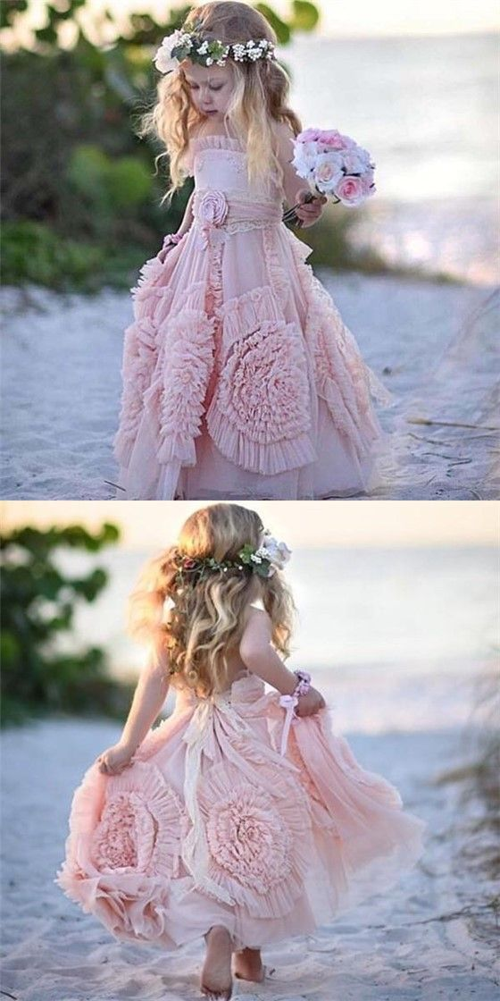 Lovely Spaghetti Soft Pink Flower Girl Dresses For Beach Wedding, Unique Little Girl Dresses, FG069 #flowergirldresses #Sofiebridal #littlegirldresses