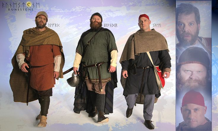 Vignettes: Styrkarr's trusted friends and council. Ulfrik the armorer, Brandr the master craftsmen, and Salvi the farmer.
