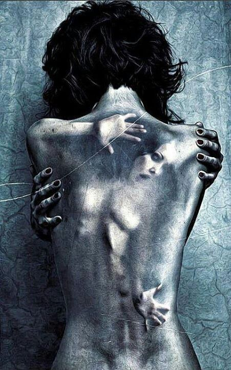 Powerful. I feel this conveys the feeling of being trapped in your own skin. The pain not seen by the human eye.