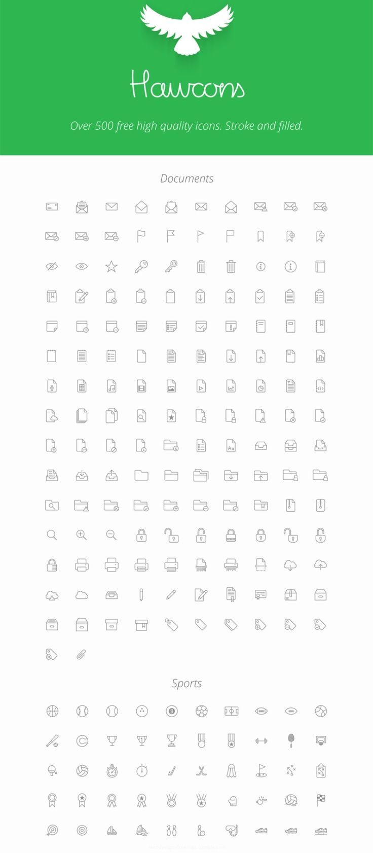 Hawcons - 500 Free Stroked and Filled Icons